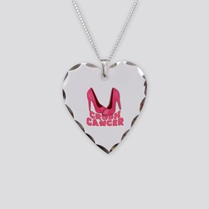 Crush Cancer with Pink Heels Necklace Heart Charm