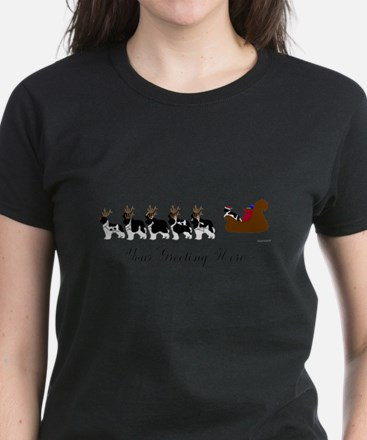 Landseer Sleigh - Your Text Women's Dark T-Shirt