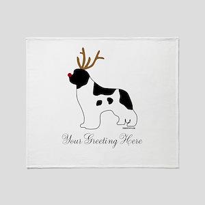 Reindeer Landseer - Your Text Throw Blanket