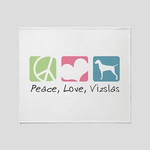 Peace, Love, Vizslas Throw Blanket