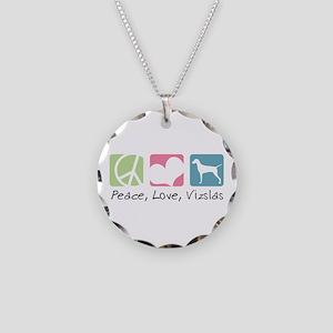 Peace, Love, Vizslas Necklace Circle Charm