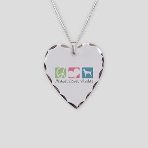 Peace, Love, Vizslas Necklace Heart Charm