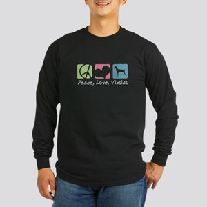 Peace, Love, Vizslas Long Sleeve Dark T-Shirt