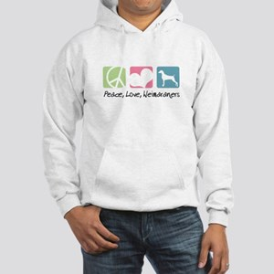 Peace, Love, Weimaraners Hooded Sweatshirt