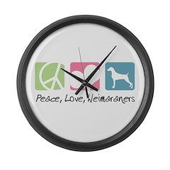 Peace, Love, Weimaraners Large Wall Clock