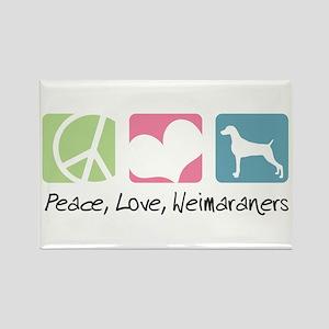 Peace, Love, Weimaraners Rectangle Magnet