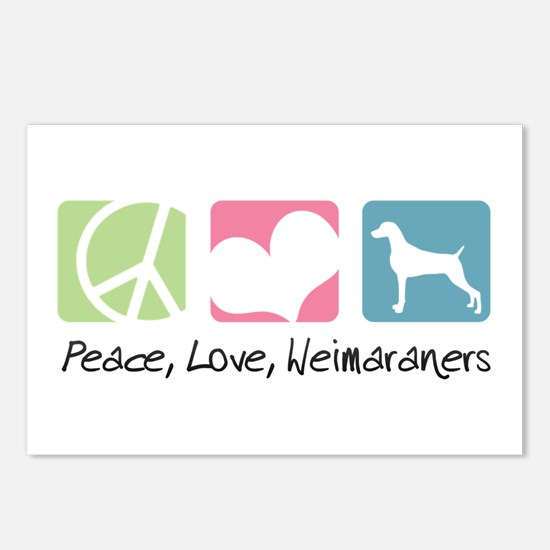 Peace, Love, Weimaraners Postcards (Package of 8)