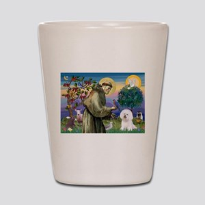 St Francis / Bichon Frise Shot Glass