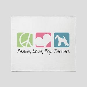 Peace, Love, Fox Terriers Throw Blanket