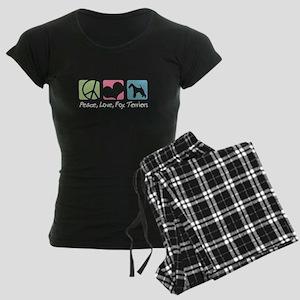 Peace, Love, Fox Terriers Women's Dark Pajamas