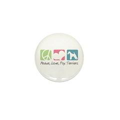 Peace, Love, Fox Terriers Mini Button (100 pack)