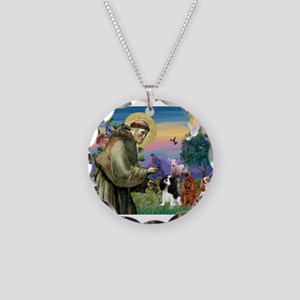 St Francis/Cavalier Trio Necklace Circle Charm