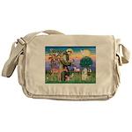 St Francis / Cocker (buff) Messenger Bag