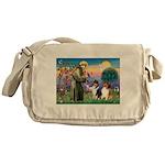 St Francis / Collie Pair Messenger Bag