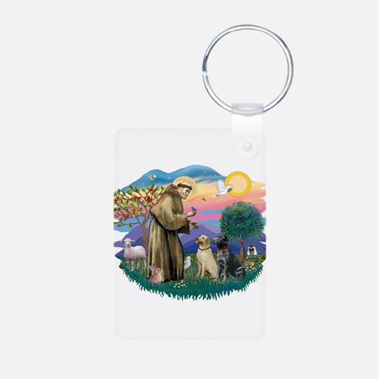 St.Francis #2/ Two Labradors Keychains