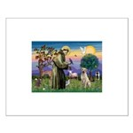 St Francis/Yellow Lab Small Poster