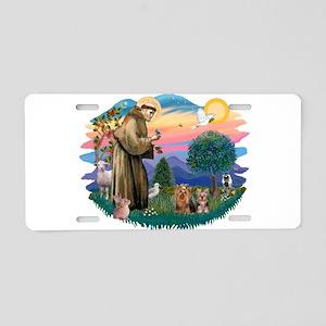St. Francis / 2 Yorkies Aluminum License Plate