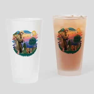 St. Francis / 2 Yorkies Drinking Glass