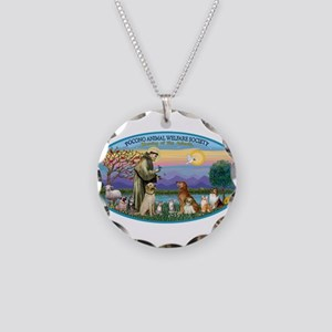 St Francis / dogs-cats Necklace Circle Charm