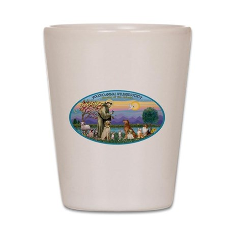 St Francis / dogs-cats Shot Glass