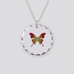 Butterfly Necklace Circle Charm
