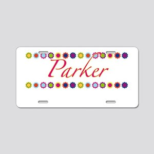 Parker with Flowers Aluminum License Plate