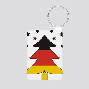 german Flag Christmas Tree Aluminum Photo Keychain