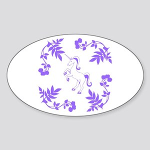 Purple Unicorn, Floral Scrolls. Sticker (Oval)