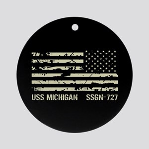 USS Michigan Round Ornament
