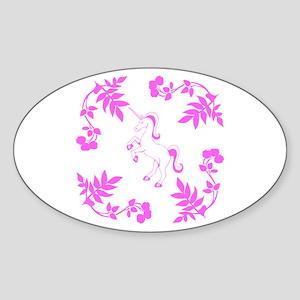 Pink Unicorn, Floral Scrolls. Sticker (Oval)