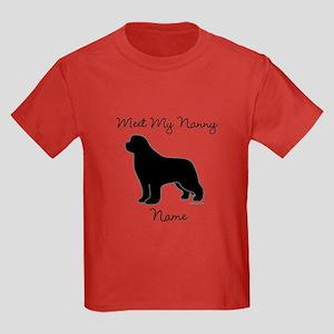 Meet My Nanny - Black Newf Kids Dark T-Shirt