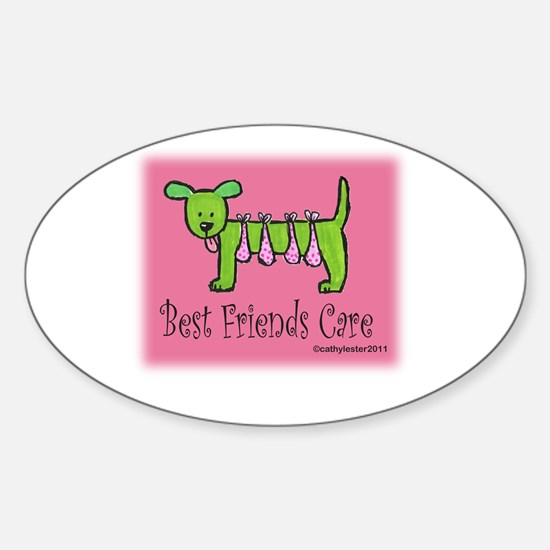 Breast Cancer Awareness Dog Sticker (Oval)