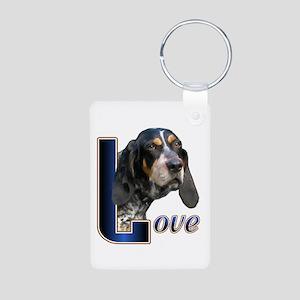 Bluetick Coonhound Love Aluminum Photo Keychain
