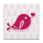 Little Birdie (BCA Dark/White) Tile Coaster
