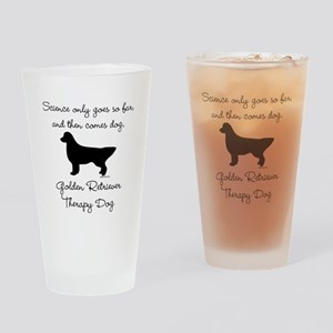 Golden Retriever Therapy Dog Drinking Glass
