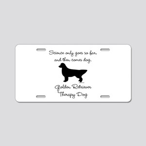 Golden Retriever Therapy Dog Aluminum License Plat