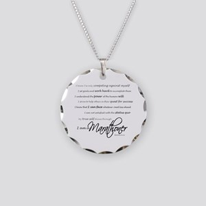 I Am a Marathoner Necklace Circle Charm