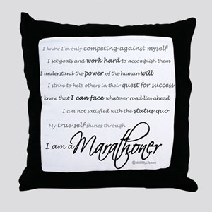 I Am a Marathoner Throw Pillow