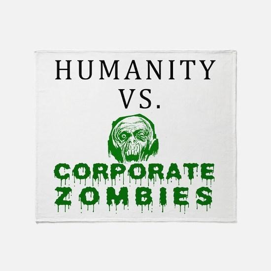 Humanity vs. Corporate Zombie Throw Blanket