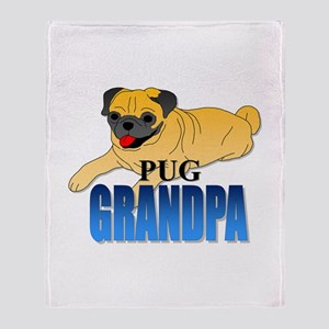 Fawn Pug Grandpa Throw Blanket