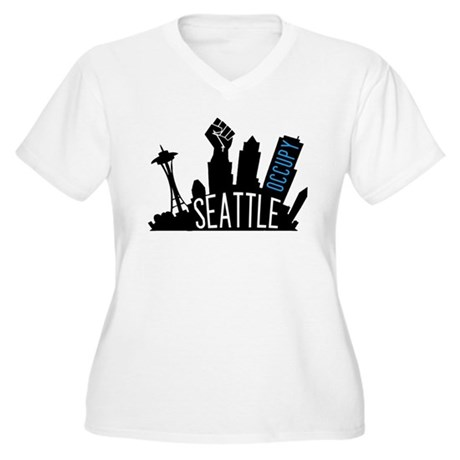 Occupy Seattle Women's Plus Size V-Neck T-Shirt