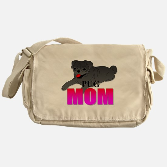 Black Pug Mom Messenger Bag