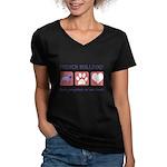 French Bulldog Pawprints Women's V-Neck Dark T-Shi