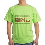 French Bulldog Pawprints Green T-Shirt