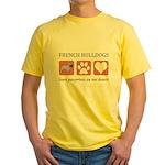 French Bulldog Pawprints Yellow T-Shirt
