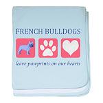 French Bulldog Pawprints baby blanket