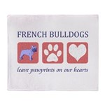 French Bulldog Pawprints Throw Blanket