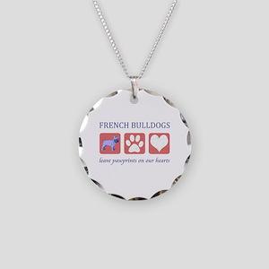 French Bulldog Pawprints Necklace Circle Charm