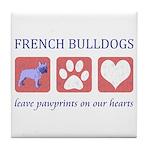 French Bulldog Pawprints Tile Coaster