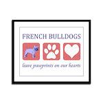 French Bulldog Pawprints Framed Panel Print